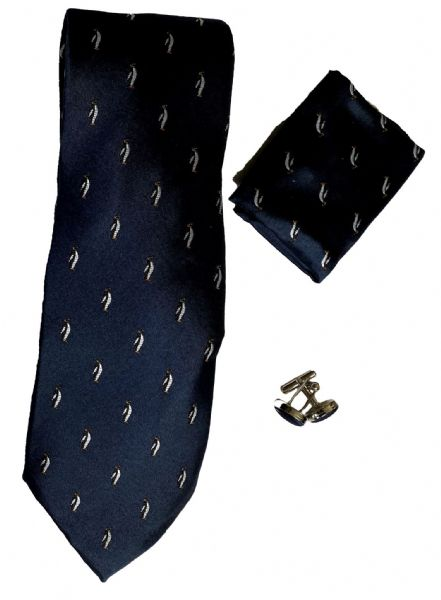 Silk ties with penguin pattern and matching handkerchief & cufflinks